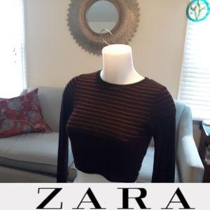 Size S Zara striped red black long sleeve crop top